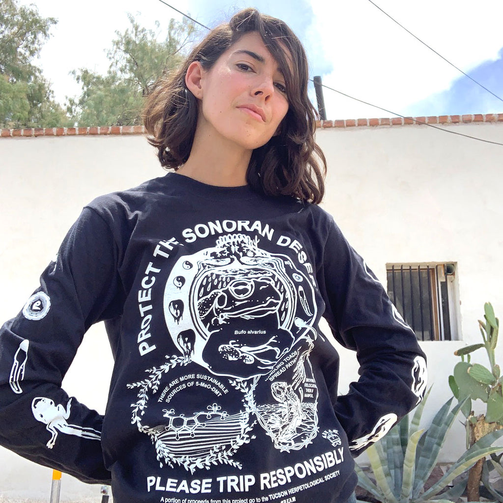 """Protect The Toad""- White on Black Unisex Long Sleeve Shirt"