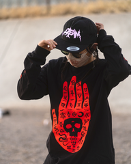 """Palmistry""- Black and Orange Longsleeve Shirt"