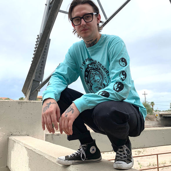 """Protect The Toad"" - Black on Teal Long Sleeve Shirt"