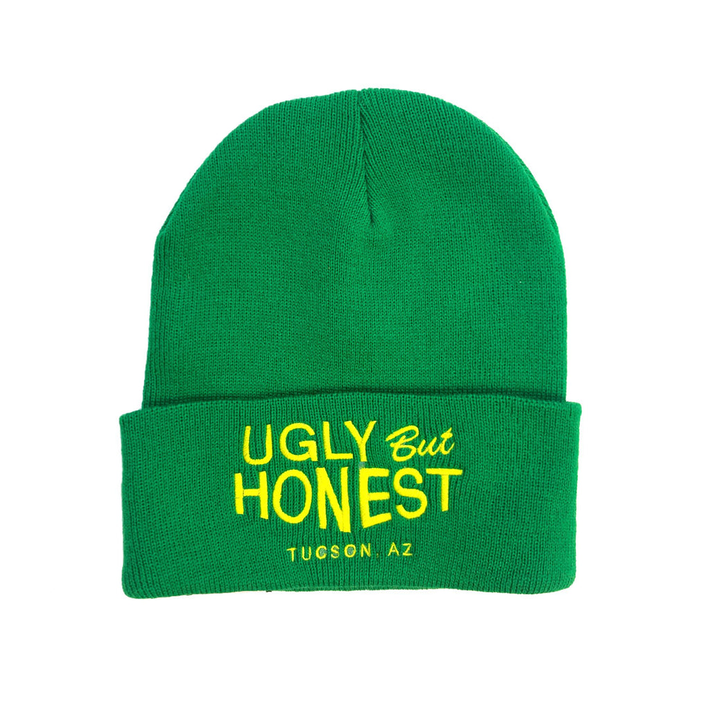 """Ugly But Honest"" Yellow on Kelly Green Embroidered Beanie"