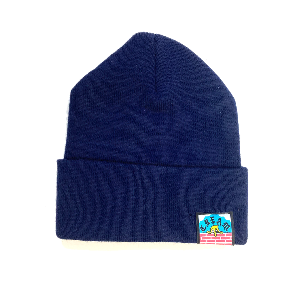 """Ugly But Honest"" White on Navy Embroidered Beanie"