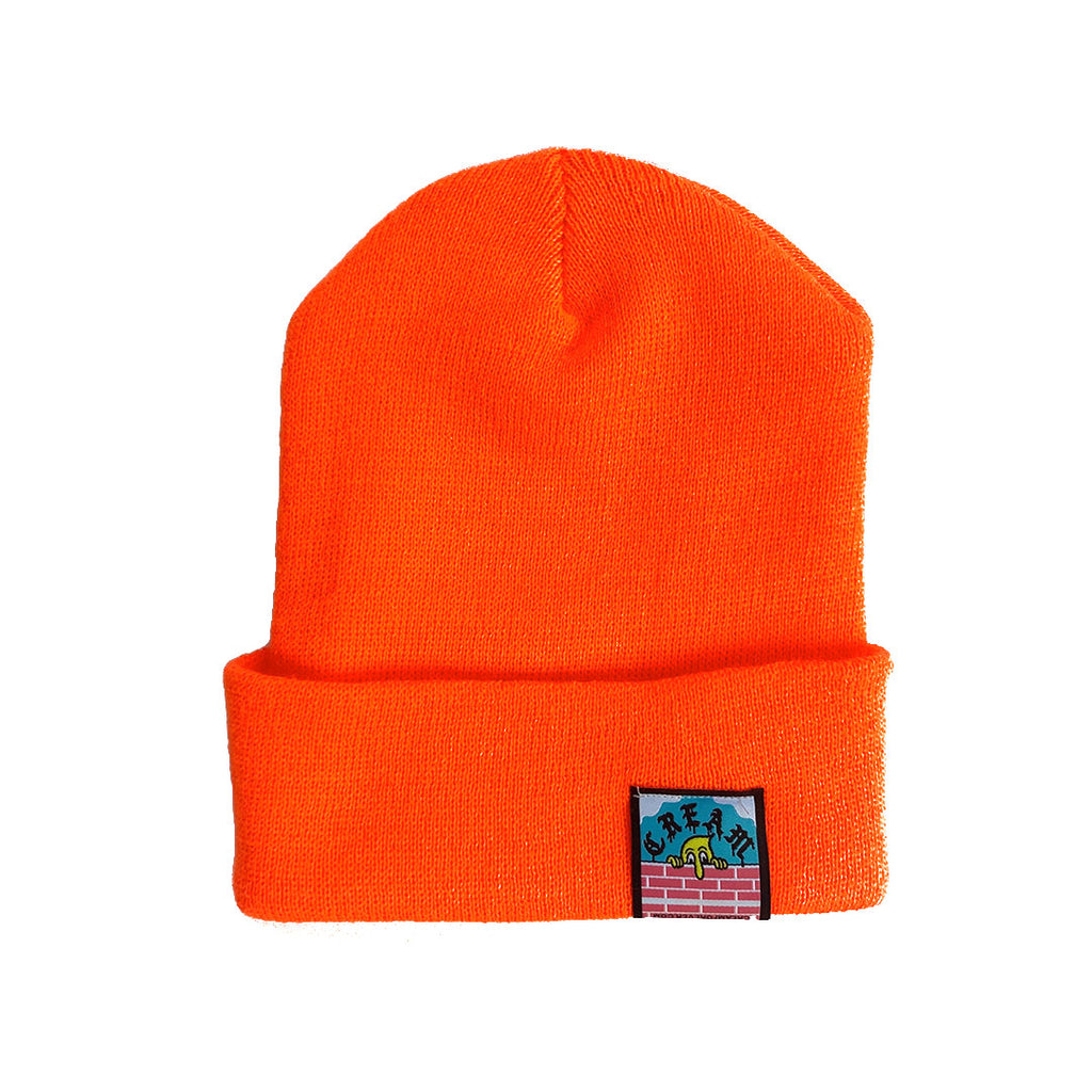 """Ugly But Honest"" White on Orange Embroidered Beanie"