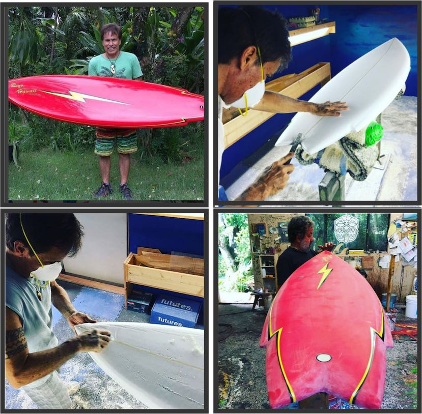 RENO ABELLIRA a handshaped special board that we will raffle off on JULY 29 @hwnsouthshore ⚡️Share and enjoy the ALOHA!! #legend #shaper #hawaiii #aloha #history #book #giveaway
