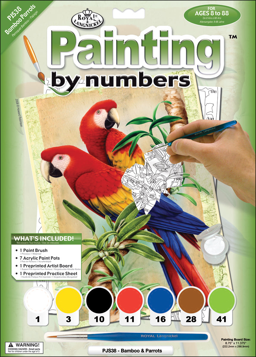 Bamboo & Parrots - Junior Small Paint By Number Kit 8.75