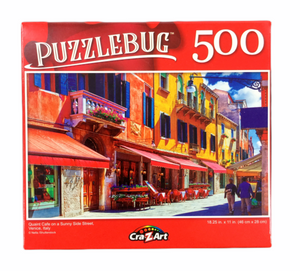"500 Piece Jigsaw Puzzle ""Quaint Cafe on a Sunny Side Street"""