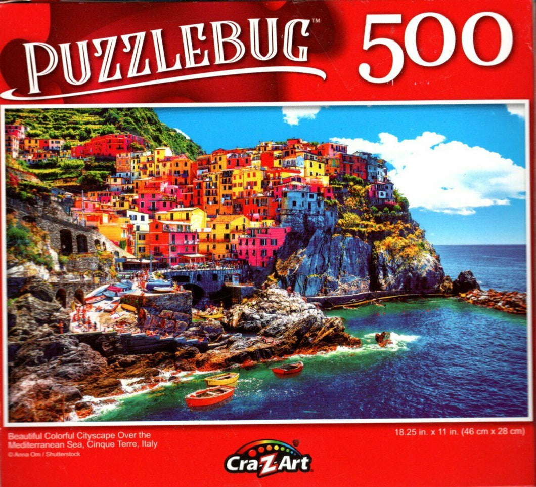 Beautiful Colorful Cityscape Over the Mediterranean - 500 Pieces Jigsaw Puzzle