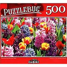 Blooming Hyacinths and Tulips 500 Pieces Puzzle