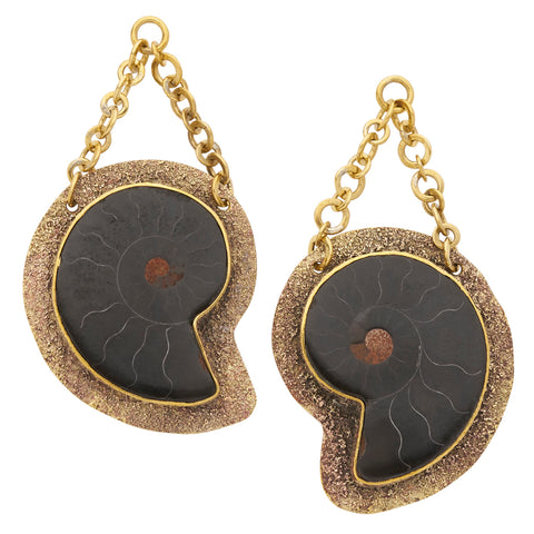 Distressed Solid Brass Black Fossil Ammonite Ear Weights