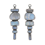 Rough Face Rainbow Moonstone Ear Weights