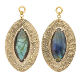 Distressed Sterling Silver & Solid Brass Labradorite Moon Ear Weights