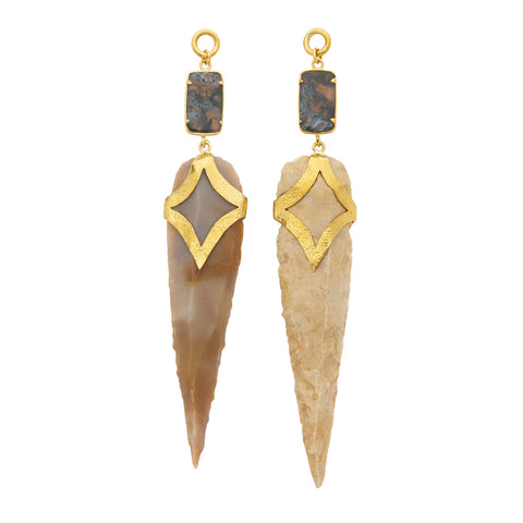 Solid Brass Moss Agate Neolithic Arrowhead Ear Weights