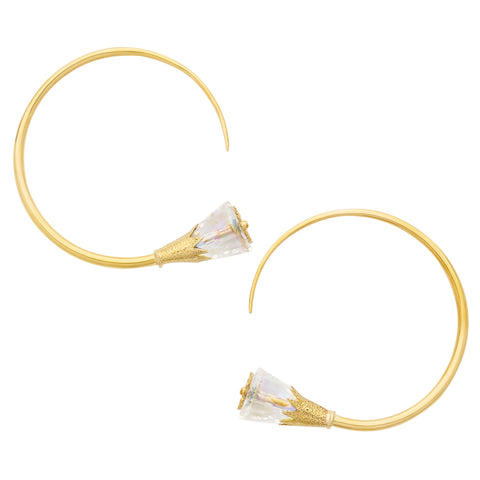 Solid Brass Crystal Swarovski Flower Tsabit Ear Weights