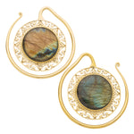 Solid Brass Labradorite Traditional Bezel Puju Ear Weights