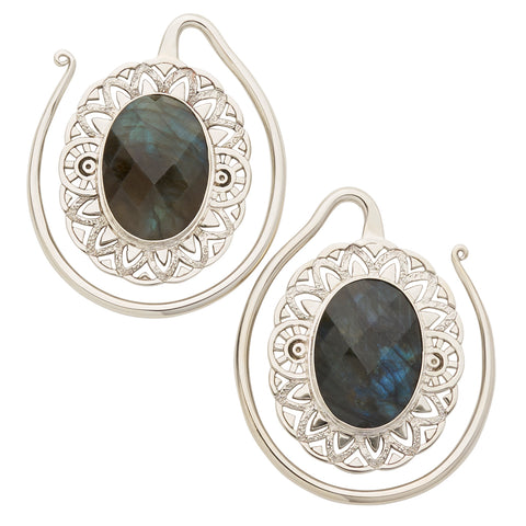 White Brass Faceted Labradorite Oval Puju Ear Weights