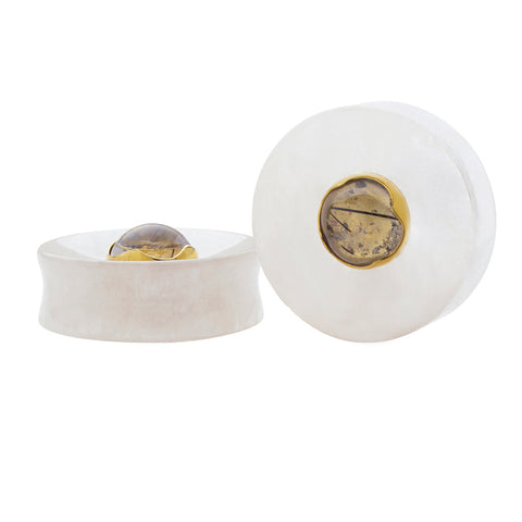 Crystal Concave Tourmalated Quartz Plugs
