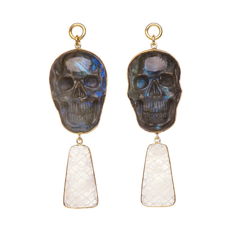 Labradorite & Mother of Pearl Skull Dangles