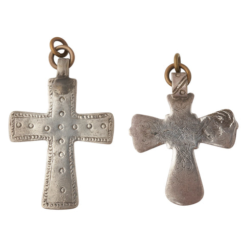 Vintage Silver Ethiopian Cross Ear Weights