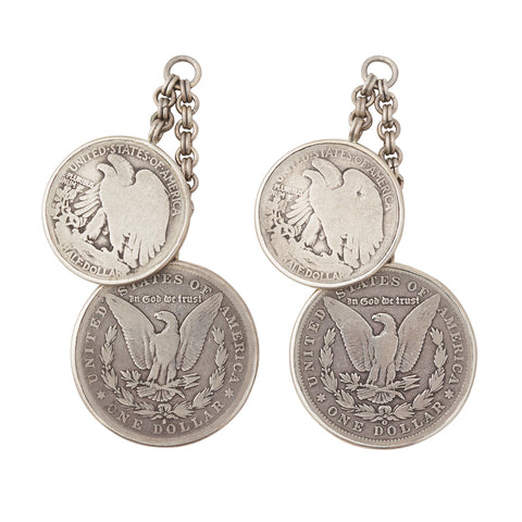 Vintage Silver Half & Dollar Coin Ear Weights