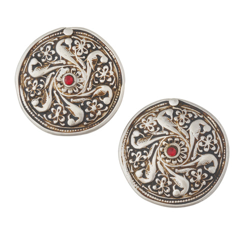 Vintage Silver Bird Shield Garnet Plugs