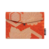 Burnt Orange & Gold Floral Recycled Kimono Jewelry Pouch