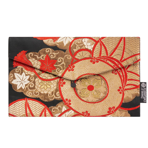 Red, Gold & Black Flowers Recycled Kimono Jewelry Pouch