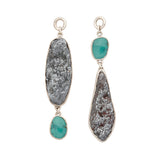 Sterling Silver Turquoise and Manganese Ear Weights