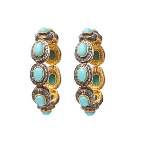 Pave Diamond and Turquoise Hoop Ear Weights