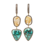 Pave Diamond with Golden Rutilated Quartz and Turquoise Ear Weights