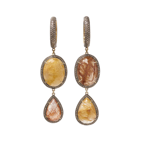 Pave Diamond with Gold Rutilated Quartz and Copper Rutilated Quartz Ear Weights