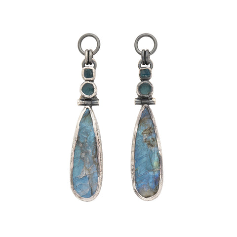 Rough Face Labradorite & Apatite Ear Weights