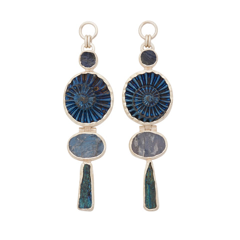 Sterling Silver Labradorite Kyanite and Titanium Coated Ammonite Ear Weights