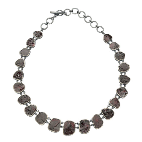 Oxidized Sterling Silver Rough Face Garnet Necklace