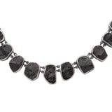 Oxidized Sterling Silver Rough Face Black Tourmaline Necklace
