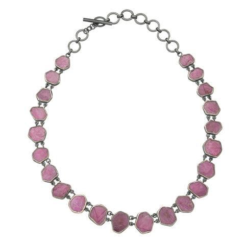 Oxidized Sterling Silver Rough Face Red Ruby Necklace