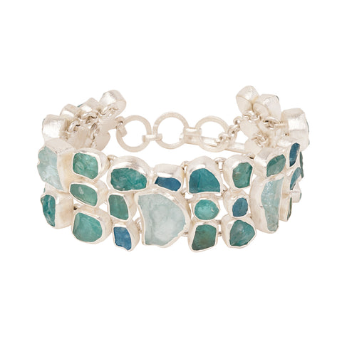 Rough Face Aquamarine & Apatite Bracelet