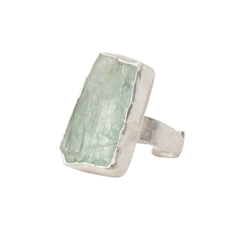 Sterling Silver Rough Face Aquamarine Ring