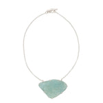 Sterling Silver Rough Face Aquamarine Necklace