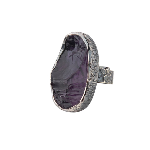 Oxidized Sterling Silver Rough Face Amethyst Ring