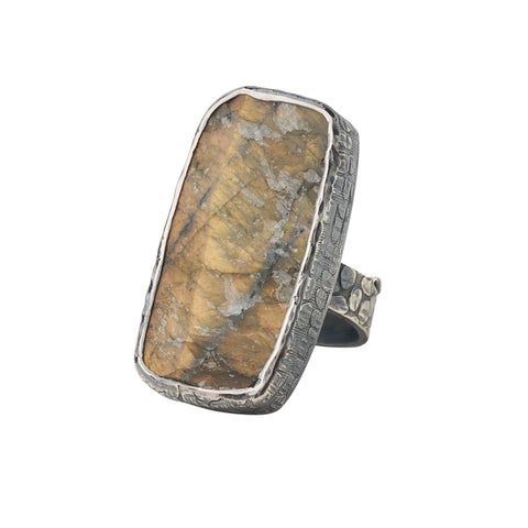 Oxidized Sterling Silver Rough Face Labradorite Ring