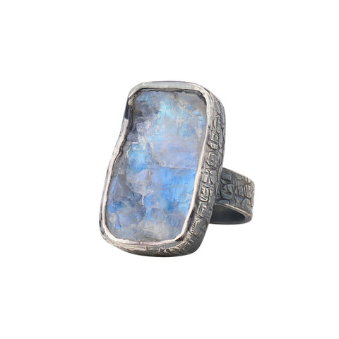 Oxidized Sterling Silver Rough Face Rainbow Moonstone Ring