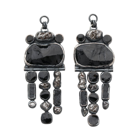 Rough Face Black Tourmaline & Meteorite Ear Weights
