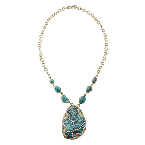 Sterling Silver Solid Brass Turquoise Alive Necklace