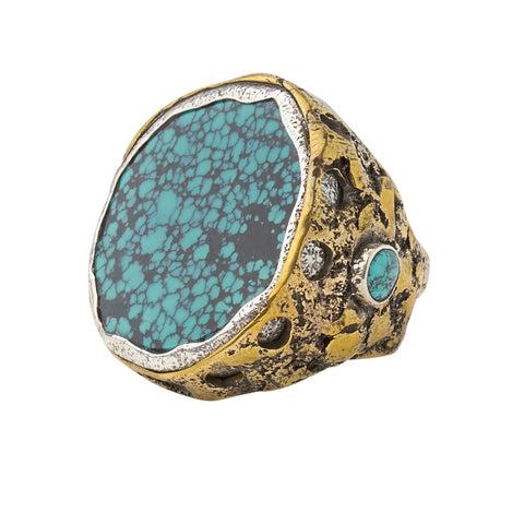Sterling Silver Solid Brass Turquoise Alive Ring