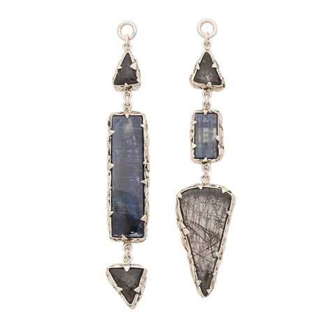 Sterling Silver Tourmalated Quartz and Kyanite Triple Feral Ear Weights