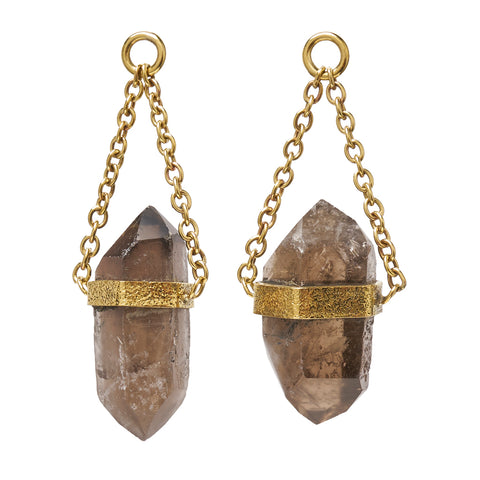 Solid Brass Natural Double Terminated Smoky Quartz Crystal Ear Weights