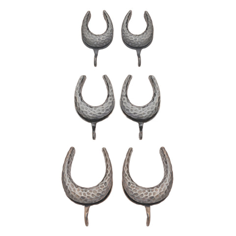 Oxidized Sterling Silver Hammered Saddle Spreader Hooks