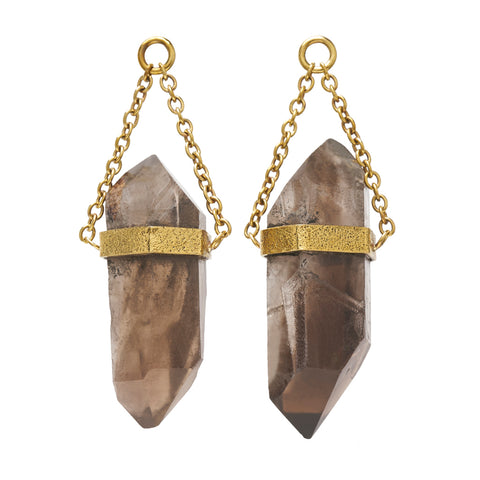 Solid Brass Chunky Natural Double Terminated Smoky Quartz Crystal Ear Weights