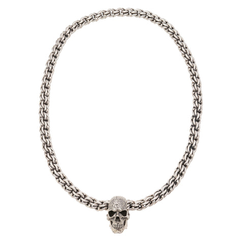Sterling Silver Skull Necklace - Large
