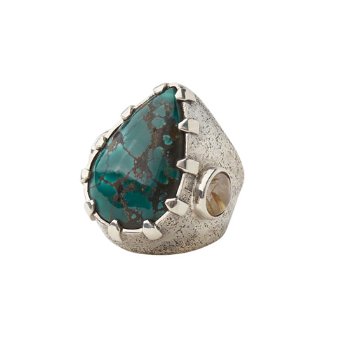 Sterling Silver Tear Turquoise and Rutilated Quartz Ring