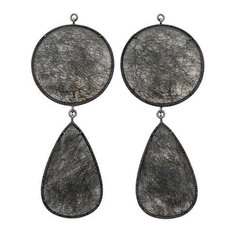 Black Rhodium Pave Double Tourmalated Quartz Ear Weights